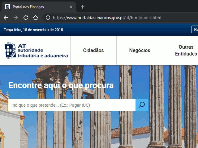 Página inicial do Portal das Finanças